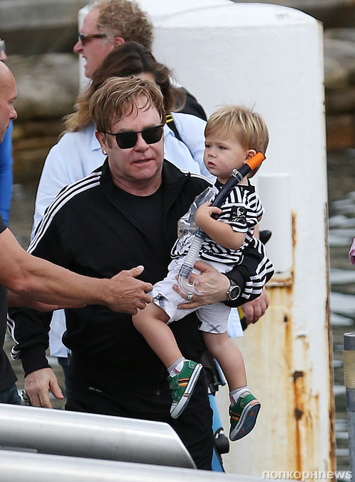 Sir Elton John goes boating with his son Zachary Furnish-John on the harbour in Sydney, Australia